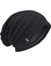 JESSE · RENA Men Slouchy Beanie Knit Skull Cap Lined Baggy Winter Hat Oversized CFB08