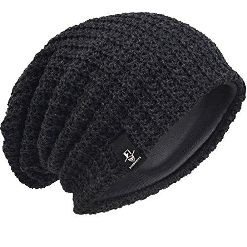 Verano Slouch de Hat Gris Oscuro Knit Invierno Gorro Beanie Punto Hombre tR0wHw