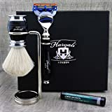 Elegant 3 Pcs Men's Shaving Set ft Pure White Badger Brush, Gillette Fusion Compatible Razor & Dual Chrome Plated Stand