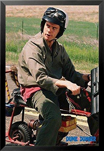 Buyartforless Framed Dumb and Dumber - Lloyd on Motor Bike Scooter 36x24 Movie Photograph Art Print Poster Jim Carrey