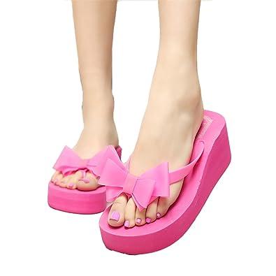1423be0bdc87 ZEARO Ladies Summer Platform Flip Flops Thong Wedge Beach Sandals Knotbow  Shoes (36 (UK