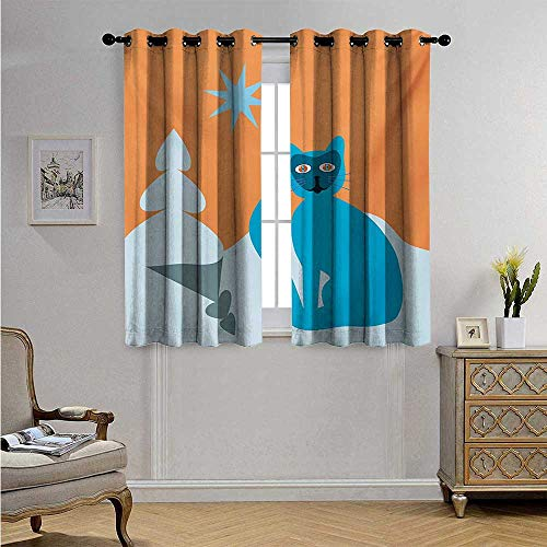 (Psychedelic Drapes for Living Room Cat with Racoon Mask in Snow Scenery with Spruce Under Sky with Star Artwork Blackout Drapes W72 x L45(183cm x 115cm) Turqouise)