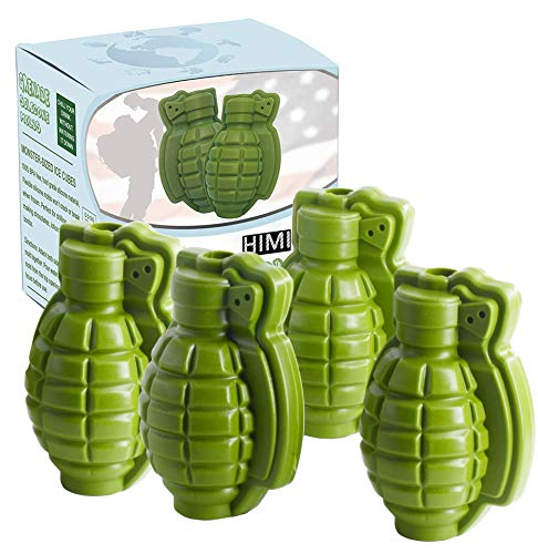 HINMAY Grenade Ice Cube Mold Silicone 3D Life Size Hand Grenade Mold - Set of 4 - Whisky Cocktail Ice Ball Tray Maker for Kids Men Military Fans