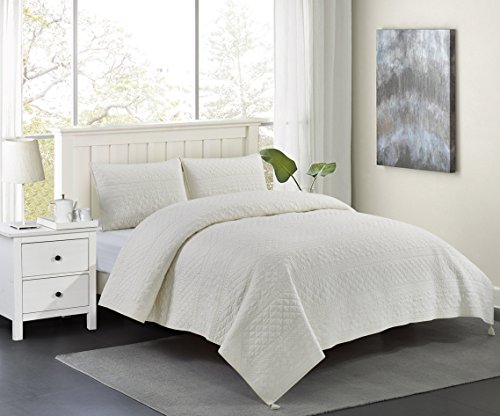 Wonder-Home 3 Piece 100% Cotton Quilt Set, Oeko-TEX Standard Certified Quilted Coverlet Set with Printing & Classic Quilted Embroidery, Luxury Queen Bedding Set, Ivory