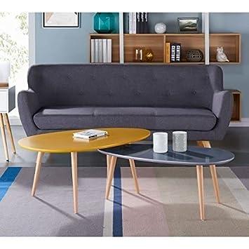 STONE Table basse ovale scandinave jaune moutarde laqué - L 98 x l ...