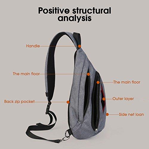 Multipurpose Hommes Sling Body Voyage Anti Poitrine Backpack Gris Cross D'épaule Sac vol Pour Randonnée Triangle Bag Diagonal Ports qXww5Zv7F