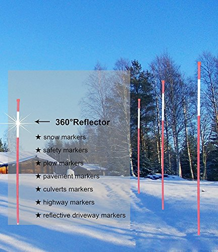 FiberMarker Snow Markers 48-Inch Reflective Snow Poles 5/16 Inch Diameter Red, 20 Pack ()
