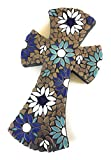 Mosaic Tile Flower Wall Cross large 11 inch X 6 inch Ceramic Teal, Blue and White Tile Mosaic Decorative Cross with Charcoal Colored Grout.