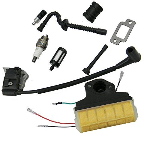 Assy Intake (HIPA Ignition Coil + Spark Plug + Air Filter + Fuel / Oil Line Filter + Muffler Gasket + Intake Maniflod Boot Adapter for STIHL 021 023 025 MS210 MS230 MS250 Chainsaw)