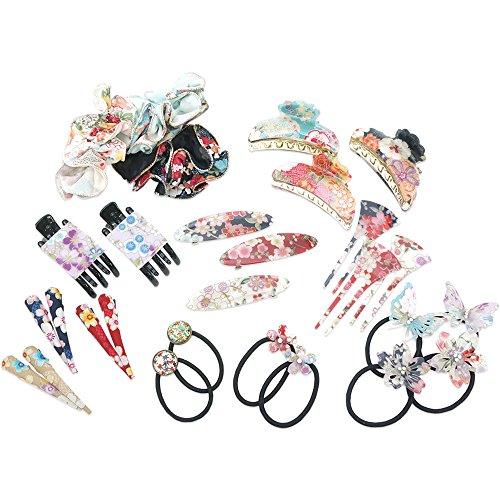 Japanese-hair-accessories-7pcs-Random-assort-set-Cherry-Blossoms-Chirimen-JAPANESE-cool-items-store-7pcs