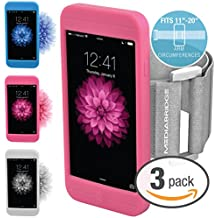 """Mediabridge Armband for iPhone 6S / 6 - Includes 3 Silicone Case Colors ( Clear, Pink & Blue ) - Fits 11""""-20"""" Arm Circumferences - Includes Large Strap - Model AB1 (Part# AB1-I6-CL/PI/BL )"""