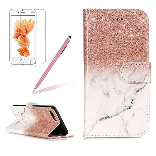 Case for iPhone 8 Plus,Girlyard Colorful Printing Painting Premium PU Leather+TPU Inner Book Style Magnetic Closure Flip Stand Feature with Screen Protector for iPhone 7 Plus-Marble Rose Gold -