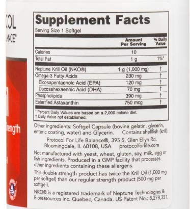 Protocol for Life Balance Neptune Krill Oil, 1000 Mg, 60 Softgels