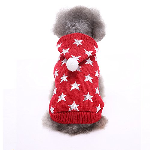 Red Hoodie Dog Back Length 7.5\ Red Hoodie Dog Back Length 7.5\ Clothes Sweatshirt Dogs Hoodie Sweater Inspired Playful Super Star Ribbed Knit Small Dog Sweater S 7.5  Back Length, Small