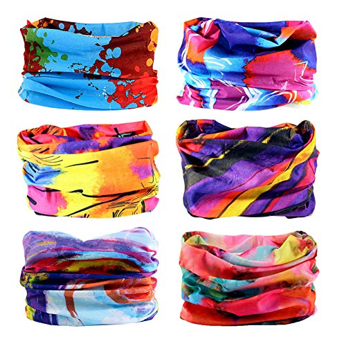 Headband Headwear Head Wrap Bandana Sport - 6PCS Magic Seamless Scarf Wide Hairbands Elastic Tube Face Mask Neck Gaiter UV Resistence Outdoor Workout (6pcs Colorful Series 3)