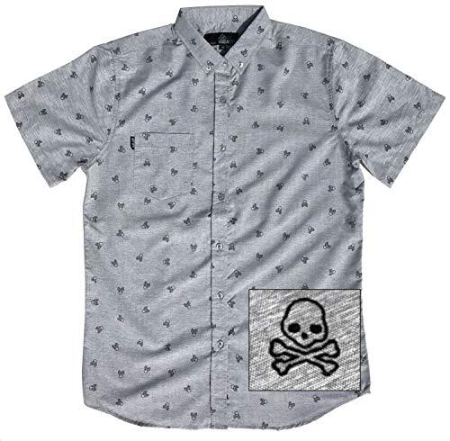 M MOLOKAI SURF Official Molokai Button up Slim Fit Hawaiian Short Sleeve Shirts (Skulls and Bones, Large)