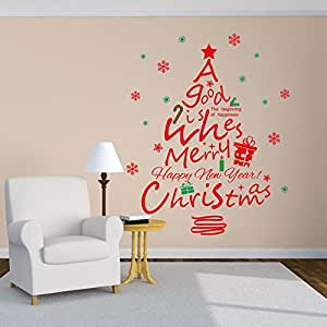 Merry Christmas Happy New Year, Saying Sticker Red Christmas Tree Snowflake Wall Decals Removable Home Decor
