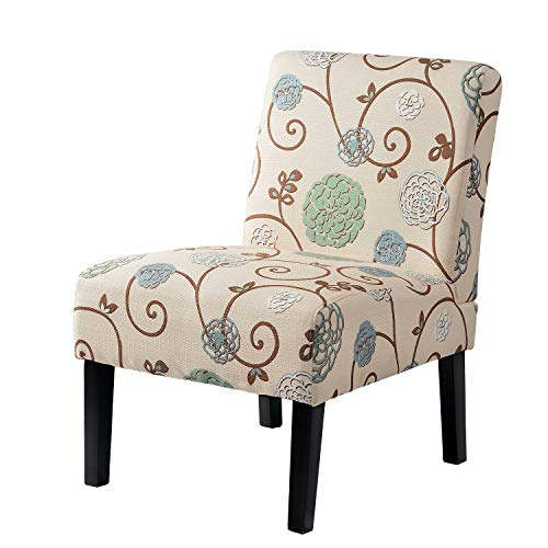 (Accent Chair Living Room Armless Chair Linen-Cotton Fabric Upholstery with Solid Wood Legs - Living Room Guest Room Study Room - Home and Commercial Use - Beige (Floral))