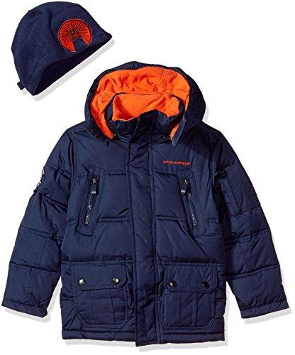 Weatherproof Boys' Outerwear Jacket,Puffer Navy Orange,4 by Weatherproof