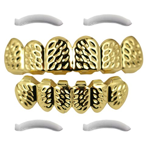 [24K Gold Plated Diamond Cut Grillz + 2 EXTRA Molding Bars] (2 Person Halloween Costume)