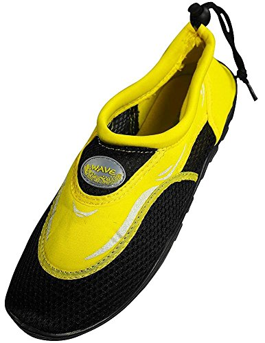 Men's Wave Water Shoes Pool Beach Aqua Socks, Yoga , Exercise, Black/Yellow S1182M, 8 D(M) US from The Wave Water Shoes