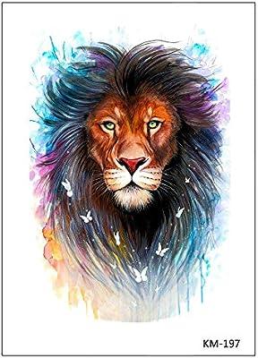 tatuaje falso de león KM197: Amazon.es: Belleza