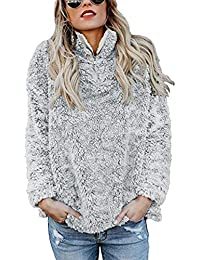 Womens Long Sleeve Half Zip Fuzzy Fleece Pullover Jacket...