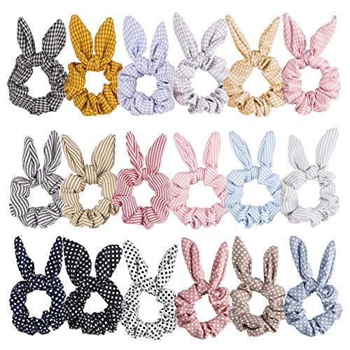 PANTIDE 18PCS Hair Scrunchies Hair Bands Rabbit Bunny Ear Elastic Bowknot Scrunchy Hair Tie Hair Accessories for Women