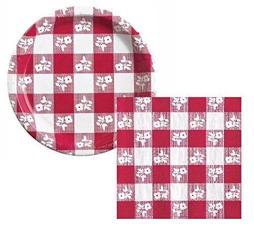 Perfect Picnic Red Gingham Dessert Napkins & Plates Party Kit for -