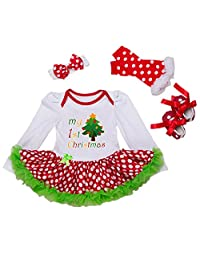 Happy Cherry Baby Girls Christmas Dress Infant Romper Headband Legging Shoes Set
