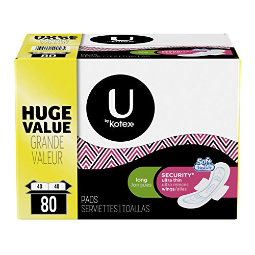 U by Kotex Security Ultra Thin Pads with Wings, Long, 80 Count