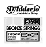 D'Addario EXPBW032 EXP Coated 80/20 Bronze Single String, .032
