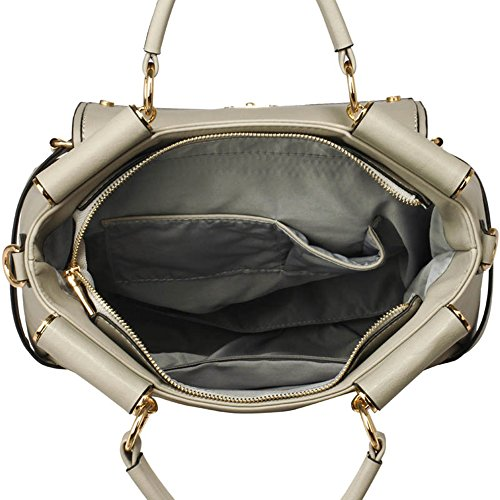 Faux Grab Tote Satchels Grey Business Handbags Large Sale LeahWard Office Leather Clearance Flap Twist 237 Meeting Handle Size Lock Top AxUx1wqIH
