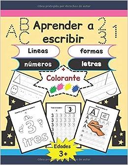 Aprender a escribir: Líneas, formas, letras y números - 170 páginas de práctica - Gran formato - Libro de escritura para niños: edades 3 y + / y algunas actividades para colorear.: Amazon.es: Boun, Ouaks: Libros