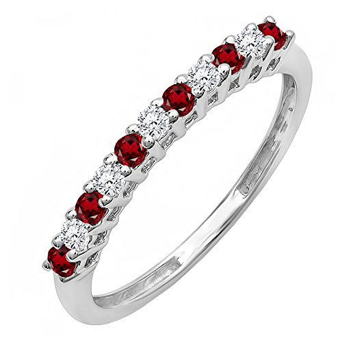 14K White Gold Round Garnet & White Diamond Anniversary Stackable Wedding Band (Size 7) by DazzlingRock Collection