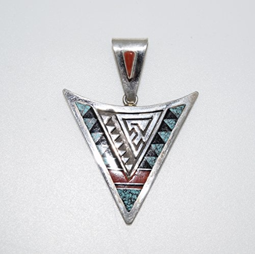 Vintage Inlaid Pendant with Genuine Turquoise, Coral and Jet