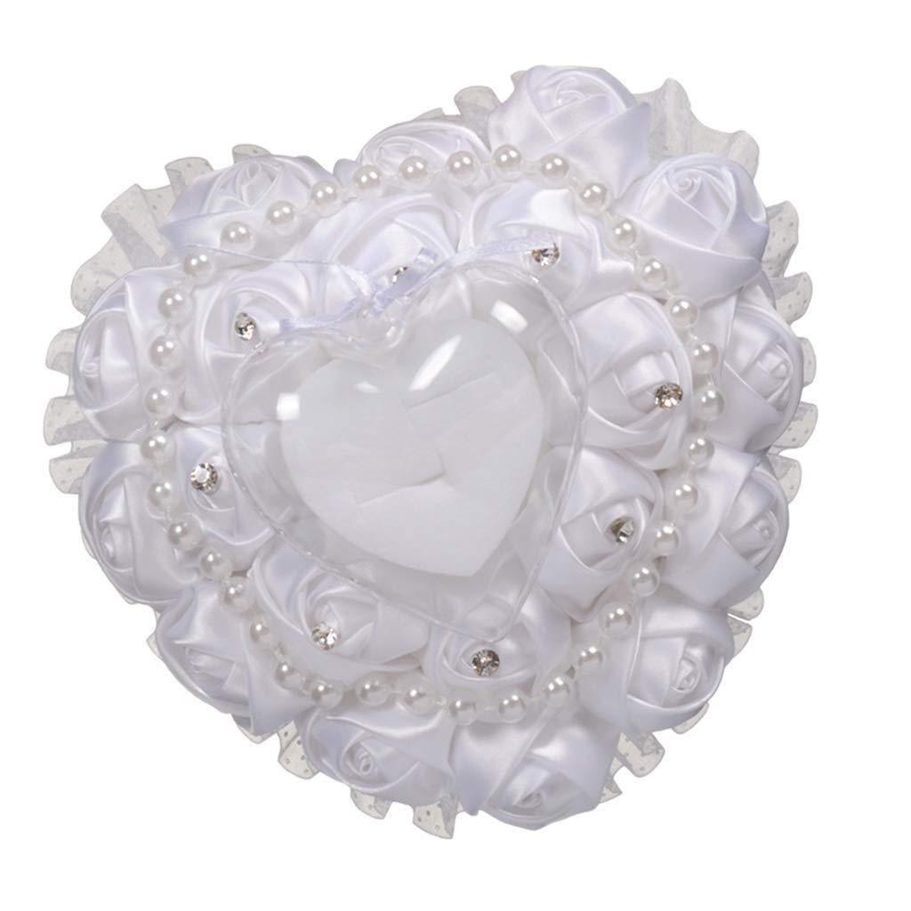 YGD Senior Gift Box, Perfect Luxury Pillow, 15x15x9cm Adorable Flower Pearls Decor Bridal Wedding Ceramony Pocket Ring Pillow Cushion Bearer with Rhinestone