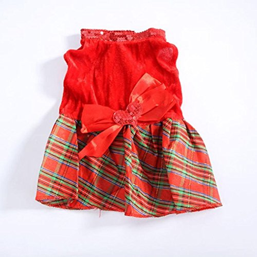 Christmas Dog Clothes, Alalaso Santa Doggy Costumes Cotton Blend Pet Apparel Red (XXS) ()