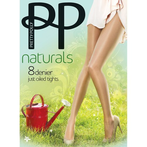 (Pretty Polly Women's 1 Pair Naturals 8 Denier Sun Oil Sheen Tights Medium/Large Barely There)