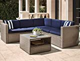 Solaura Outdoor 4-Piece Furniture Sectional Sofa Set All Weather Warm Grey Wicker with Nautical Navy Blue Cushions & Sophisticated Glass Coffee Table Conversation Set