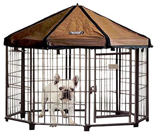 Advantek Pet Gazebo Outdoor Metal Dog Kennel with Reversible Cover, 4 Foot ()