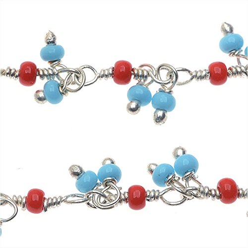 Sterling Silver Wire Wrapped Chain, Czech 10-0 Seed Beads, 1 Inch, Turquoise and Coral Red