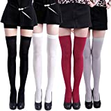 HDE Women's 4 Pack Stockings Solid Color Over The Knee Nylon Thigh High Tights