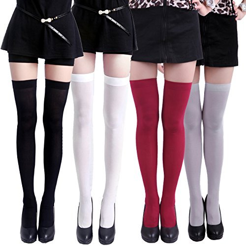 HDE Thigh High Stockings Sheer Over Knee High Socks for Women Pantyhose - 4 Pair