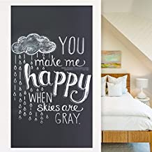 Rabbitgoo Self-Adhesive Wall Sticker Wall Paper Blackboard Sticker Chalkboard Contact Paper (Black) 17.5 by 78.7 Inches with 5 Free Chalks for School/ Office/ Home