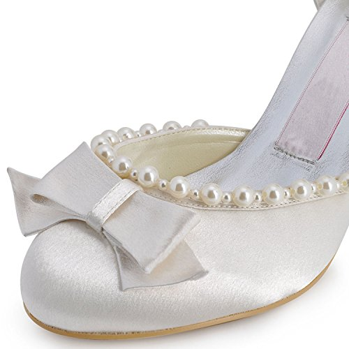 Minitoo MZ608 Womens Pointy Toe Mid Heel Back Strap Bridal Wedding Satin Pump Shoes Ivory-7.5cm Heel VLIFfy