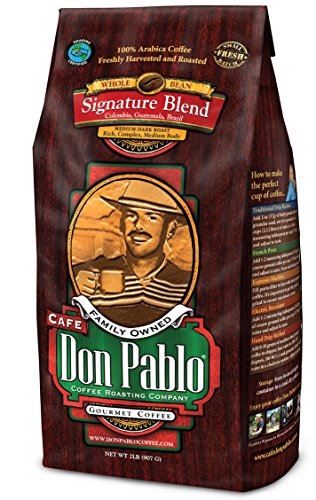 2LB Cafe Don Pablo Signature Blend Coffee - Intact Bean Coffee - Medium Dark Roast - 2 Lb Bag (Whole Bean)