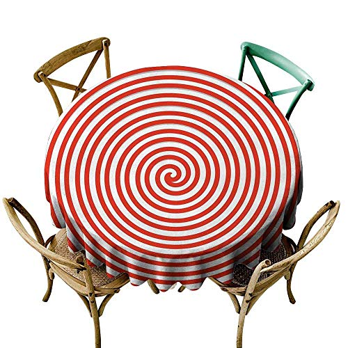Wendell Joshua Vinyl Tablecloth 50 inch Spires,Tapering Spiral Concentrate Emanates to a Point Centripetal Planar Curve Image Print,Red White Great for Buffet Table, Parties, Holiday Dinner & More