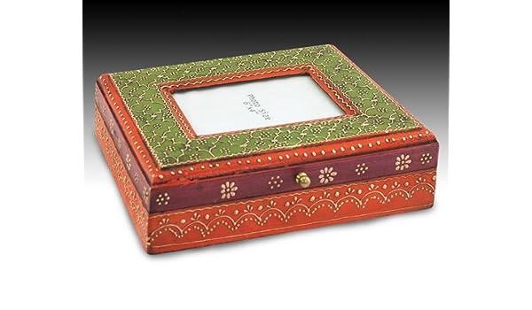 Caja Portafotos Madera India Rojiza: Amazon.es: Hogar