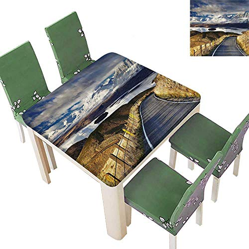Printsonne Fitted Polyester Tablecloth  Pike Road That Goes to The River and Snowy Mountain Gradient Color Sky Washable for Tablecloth 50 x 50 Inch